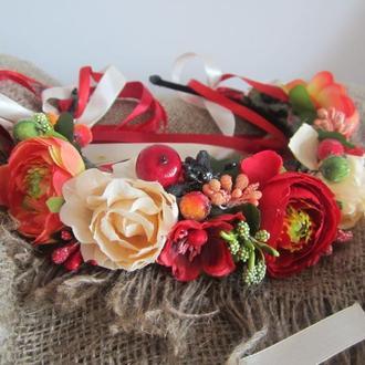 венок на фотосессию/венок красный/вінок червоний/вінок український/обруч з трояндами