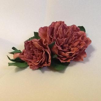 Брошь-заколка пионовидная роза