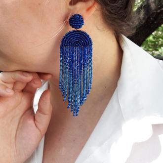 Сині сережки, сережки з китицями, сережки-водоспади, синие серьги, серьги-кисточки, серьги-водопады
