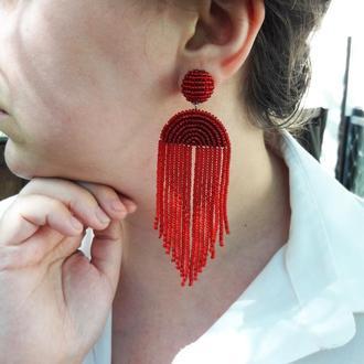 Червоні сережки з китицями, сережки-водоспади, красные серьги, серьги-кисточки, серьги-водопады