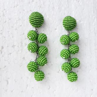 Зелені бісерні сережки-кульки, сережки-кокоси, зеленые серьги, бисерные серьги