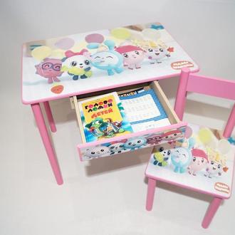 Детский столик с ящиком и стульчик МАЛЫШАРИКИ от 1 до 6 лет