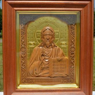 Икона деревянная резная большая Господь Вседержитель