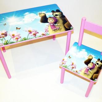 Детский столик с ящиком и стульчик Маша и Медведь от 1 до 6 лет