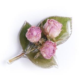 """Брошь """"Три розы"""" с бутонами розовых роз"""