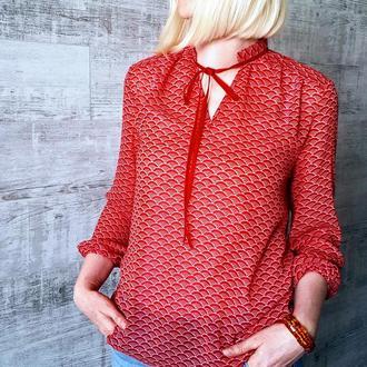 Блуза шифоновая с лентой, красная. Код 1840