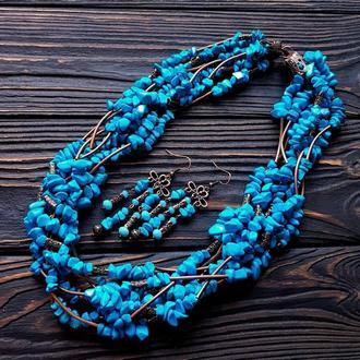 Комплект з бірюзи намисто семирядне і сережки