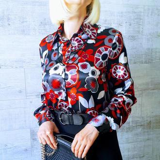 Блуза шелк черная с цветами. Код 1837