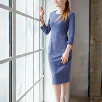 Платье футляр замшевое миди серо-голубое