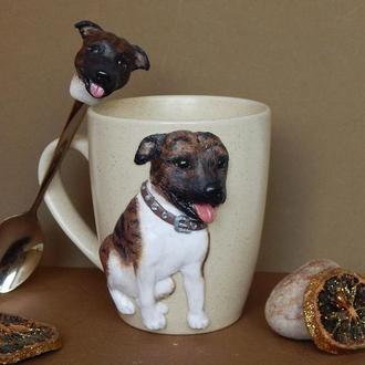 Портрет вашего питомца по фото.Чашка с собакой.Чашка с кошкой,Кружка с декором полимерной глиной