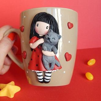 """Чашка с девочкой.Кружка с девочкой.Чашка с декором полимерной глиной """"Девочка с котом"""""""