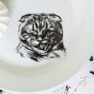 """керамическая тарелка """"вислоухий кот"""""""