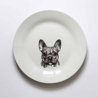 """керамическая тарелка """"французский бульдог"""""""