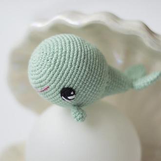 Мятный кит, игрушка вязаная крючкм, амигуруми