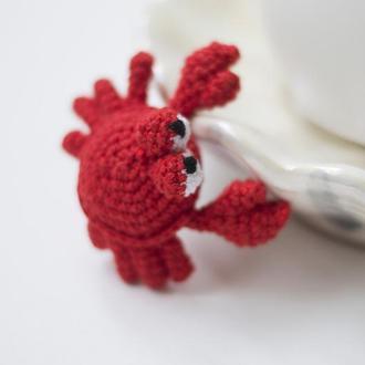 Морской краб,игрушка вязаная крючкм, амигуруми