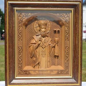 Икона деревянная резная Феодосия Черниговского