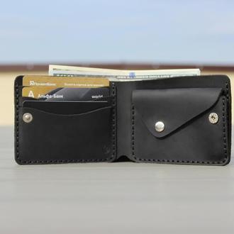Кожаное портмоне,классический мужской кошелек, бумажник двойного сложения. Доставка 1 день