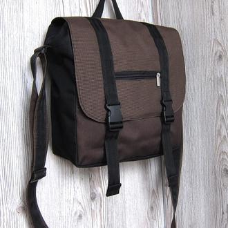 Сумка-почтальонка, сумка для ноутбука или планшета коричневая с черным