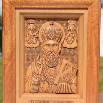 Икона резная из дерева Святого Николая Чудотворца (Угодника)