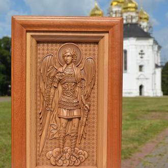 Икона деревянная резная Святого Архангела Михаила
