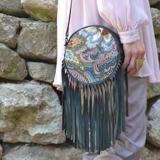 Шкіряна бохо сумка