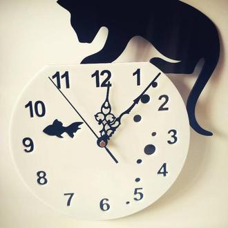 """Настенные часы """"Кот и аквариум"""""""