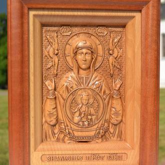 Икона деревянная резная Пресвятой Богородицы Знамение (Божьей Матери)