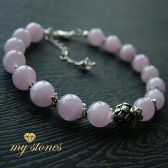 "Браслет из розового мадагаскарского кварца и серебра ""Gentle Lotus"""