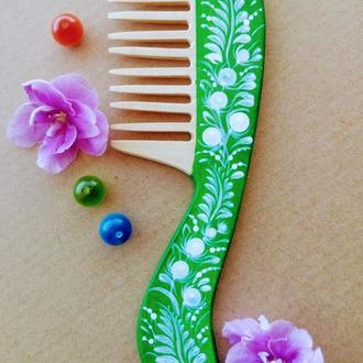 Деревянная расческа с зеленой вставкой, гребень для волос ручная Петриковская роспись