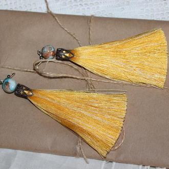 Сережки кисточки, серьги-кисточки желтого цвета
