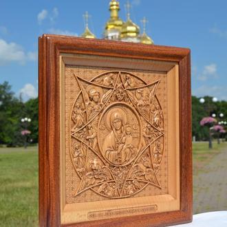 Икона разная деревянная Божьей Матери Неопалимая Купина