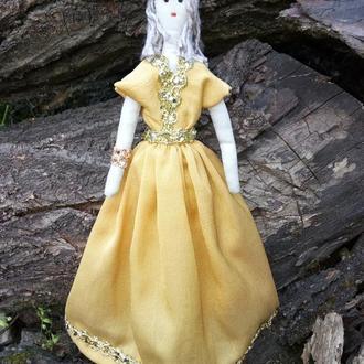 """Кукла """"Золотая"""" в стиле тильда, текстильная, интерьерная"""