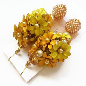 Желтые летние цветочные серьги с желтыми цветами в технике Эмаль (ручная работа) Lilei Jewelry