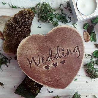 "Деревянная шкатулка-сердце ""Wedding"""
