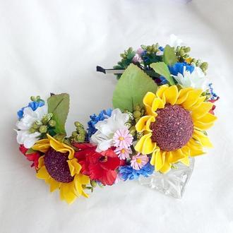 Обруч ручной работы с цветами для волос «Подсолнухи»