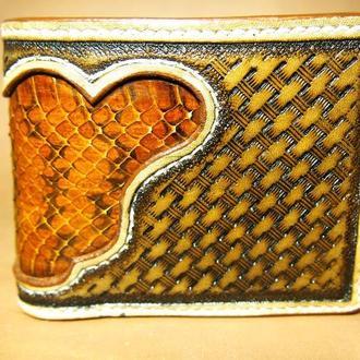 Кожаный кошелек Желтый со змеей