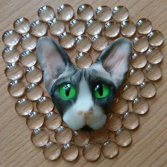 Брошь кот сфинкс из полимерной глины