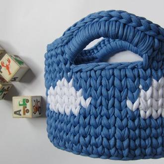Корзинка интерьерная из трикотажной пряжи, декор, подарок