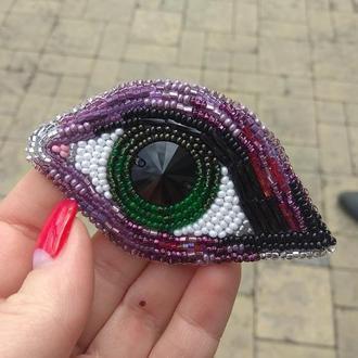 Брошь-глаз из бисера