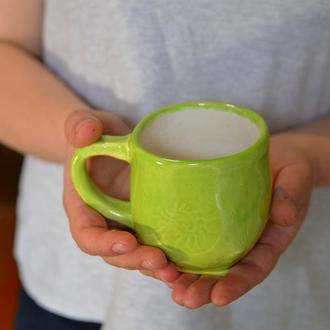 Ковшик, кружка, чашка керамическая большая 'Sole', майолика.