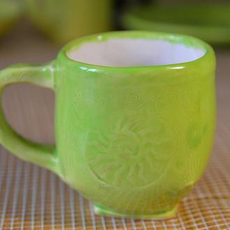 Кухлик, кружка, чашка керамічна велика ′Sole′, майоліка.