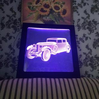 Ретро автомобиль, 3d led световая картина светильник, вип подарок, декор,  бар, ресторан, освещение