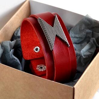 Красный кожаный браслет. Женский кожаный браслет. Стильный женский браслет