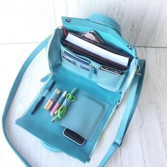Кожаная сумка- органайзер Spich голубая