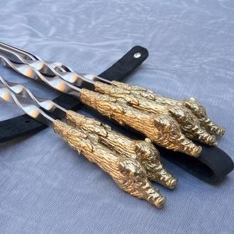 Набор шампуров Вепрь№2 в кожаном чехле