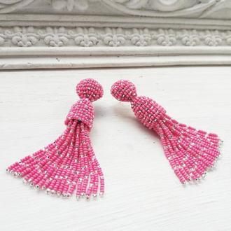 Рожеві сережки-китиці, розовые серьги-кисти в стиле Оскара де ла Рента, бисерные серьги-кисточки