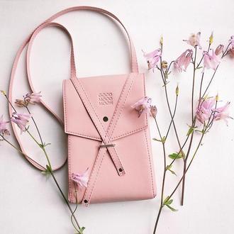 """Розовая сумка через плечо """"Floria"""". Эко кожа"""