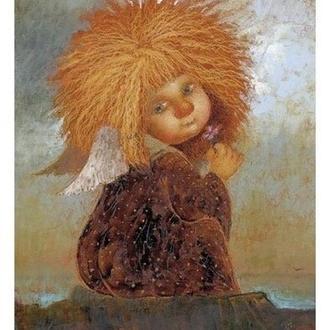 """Картина на холсте """"Ангел с фиалкой"""""""