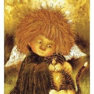 "Картина на холсте ""Ангел с тигренком"""