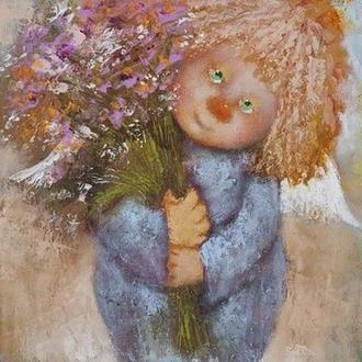 "Картина на холсте ""Ангел с букетом - все для тебя.."""